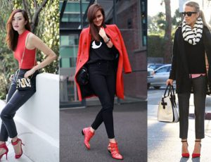 С чем носить красные классические туфли