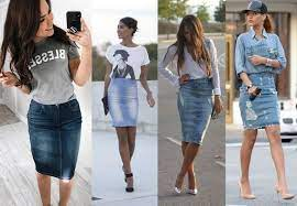 С чем носить юбку-карандаш из денима